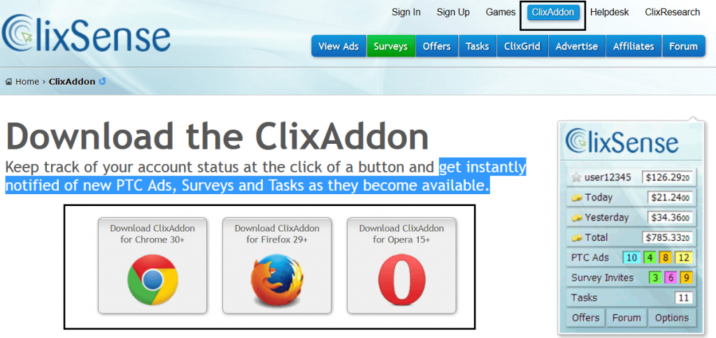 Screenshot ClixAddon Download - clixsense.com