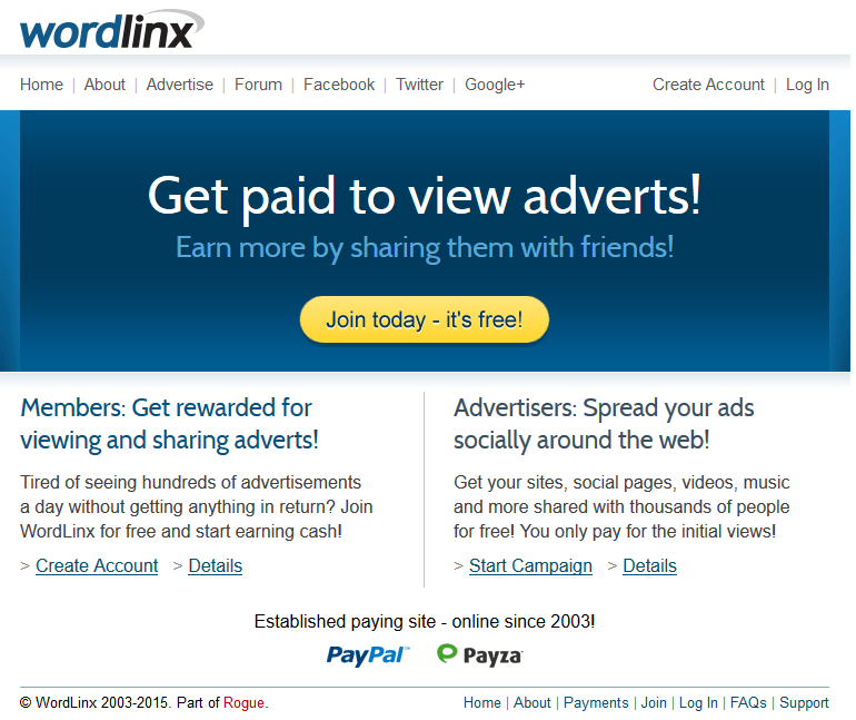 Screenshot Front Page WordLinx - wordlinx.com