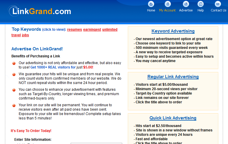 Screenshot Front Page LinkGrand - linkgrand.com